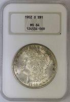 "1902-O Morgan Dollar NGC MS64 Old ""Fatty"" Holder"