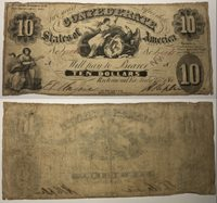 1861 $10 CSA Confederate States Of America Currency Note 781165 PF-11 T-10