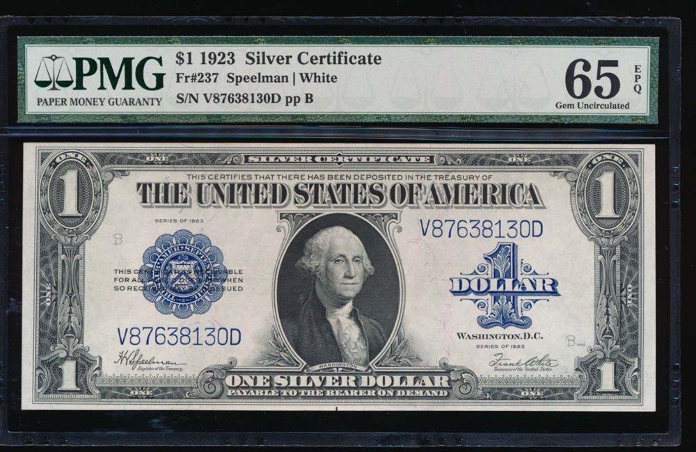 AC Fr 237 $1 1923 Silver Certificate PMG 65 EPQ gem unc