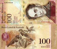 "Venezuela 100 Bolivares Pick #: 93c 2009 UNC Brown Simon Bolivar; 2 Birds; Crest; Mountains in backgroundNote 6"" x 2 3/4"" South America Simon Bolivar"