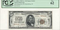 $5 Nat'l Currency, 1929 Ty 2, CH14211, Commercial NB, Spartanburg, SC, PCGS 62