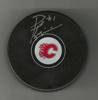 Pat Riggin Signed Calgary Flames Puck