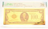 1928 $100 Gold Certificate 24k Gold 100mg PMG 70 Gem UNC Note - JJ134