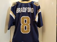 5bc05276 St. Louis Rams Sam Bradford Blue #8 Jersey SEWN Men's 5
