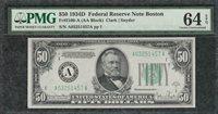 *TOUGH* 1934D $50 Boston Federal Reserve - PMG Choice Uncirculated CU 64EPQ C2C