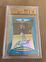 MIKE MICHAEL MOUSTAKAS 2008 Bowman Chrome Blue Refractor Auto BGS 9.5/10 /150