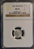 1901 Straits Settlements 5C Silver Coin, NGC MS62, Nice Coin, Nice Price