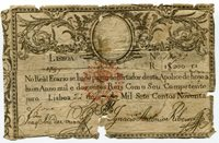 Rare 1799 Original First Banknote of Portugal Money 20 000 REIS stamped D Miguel