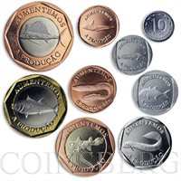 Cabinda, set of 9 coins Fauna Fishes Sea Creatures 2014