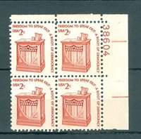 US 1582 Americana 2c 1 PB of 4 stamps MNH issued 1975-81 PB #38604