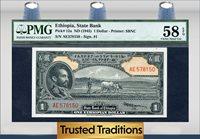 1 Dollar 1945 Ethiopia Emperor Haile Selassie Pmg 58 Epq Choice!
