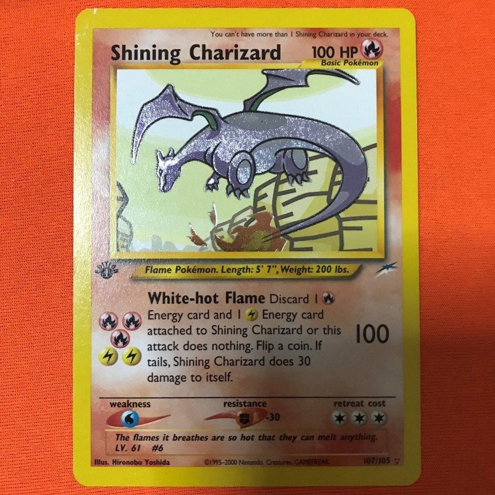 Holo Shining Charizard 1st Edition Neo 107/105 Pokemon Card (PSA, Crystal,  Star)