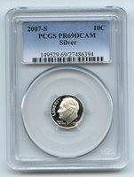 2007 S 10C Silver Roosevelt Dime Proof PCGS PR69 PR69DCAM
