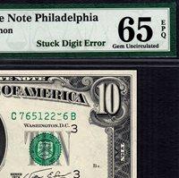 Federal Reserve Note 1974 Philadelphia $10 STUCK DIGIT ERROR Gem UNC PMG 65 EPQ