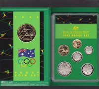 1992 Australia Proof Coin Set in Folder with outer Box & Certificate *