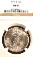 1945-S NGC MS64   WALKING LIBERTY HALF DOLLAR BLAST WHITE