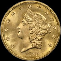 1857-S $20 Spiked Shield S.S. Central America #1 Gold Foil MS67 PCGS