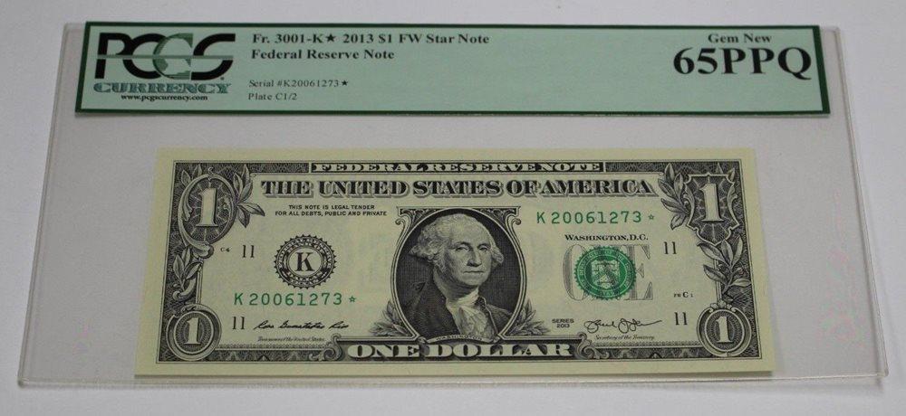 Fr 1929 G* 2003 One Dollar Star Note $ 1 Chicago PCGS Graded 65 GEM New