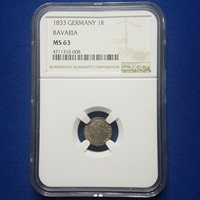 1833 German States Bavaria Silver 1 Kreuzer NGC MS63. TOP POP / TOP GRADE! - A53