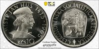 CZECHOSLOVAKIA SILVER PROOF 10 KORUN COIN 1965 YEAR KM#58 PCGS PR68CAM TOP POP