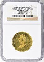 ND (c.1860s) Brass Virtue, Liberty and Indepence F.C. Key Issue Medal B-274C NGC MS-64