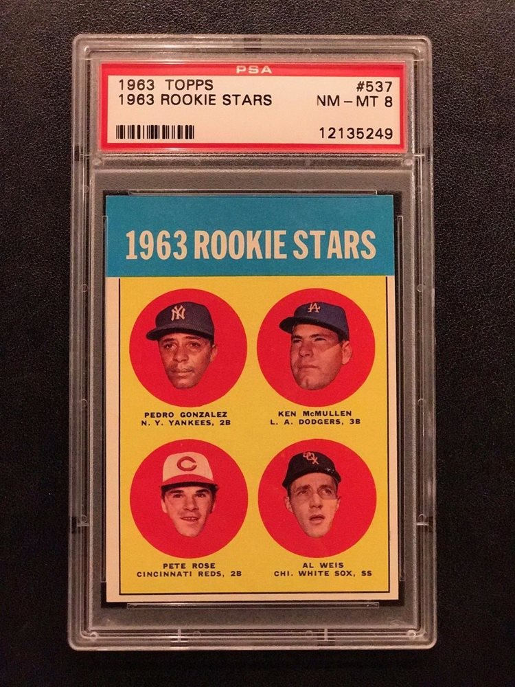 1963 Topps Pete Rose 537 Rookie Rc Psa 8