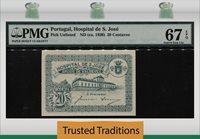 20 Centavos 1920 Pk Unl Portugal Hospital De S Jose Pmg 67q Nearly 100 Yrs!