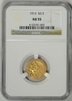 1913 $2.5 Gold Indian NGC Certified AU55 * #4133181-002