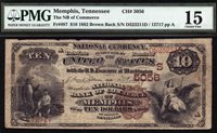 $10 1882 Brown Back National Bank of Commerce Memphis, Tennessee CH 5056 RARE
