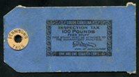 "SRS SC FET2 1910-16. 1 1/4c. black on blue, round patch, ""DENNISON'S TAGS"". unused, VF"