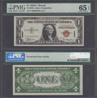 Fr#2300 $1 1935A C00002634C 65EPQ The only block you will see in low numbers on a Hawaii $1 SC.