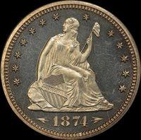 25C 1874 W/A PCGS PR64 CAMEO