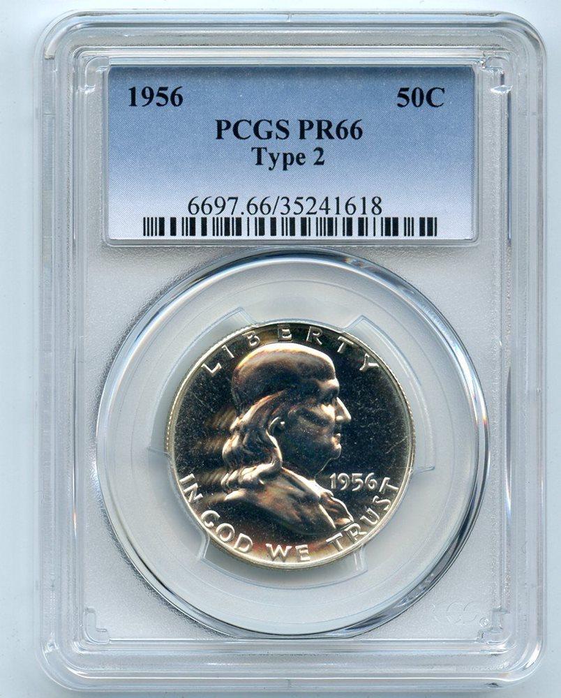 1956 Type 2 Silver Franklin Half Dollar PR 66 PCGS PR66