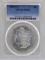 1884-CC $1 Morgan Silver Dollar Coin PCGS MS61