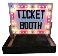 HUGE 1940s TICKET BOOTH Chaser Light Carnival Boardwalk Midway Amusement Sign