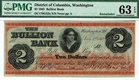 $2 Bullion Bank District Columbia Washington. PMG 63 EPQ Choice Uncirculated.