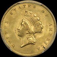 G$1 1855 TYII PCGS MS65