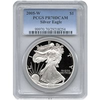 2005-W 1 oz Proof Silver American Eagles PCGS PR70 DCAM