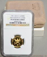 1981 Greece Gold 2500D Pan European Games PR69 UCAM NGC 930401-1