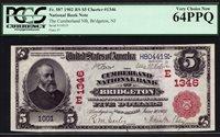 $5 1902 Red Seal Cumberland National Bank of Bridgeton, New Jersey CH 1346
