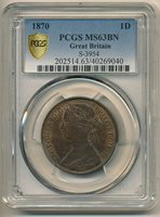 Great Britain 1870 One Penny KM #749.2 S-3954 PCGS MS63BN