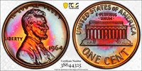 Extremely Colorful 1964 Lincoln Cent Proof 1964 Lincoln Cent, PCGS Gold Shield PR-66RB.