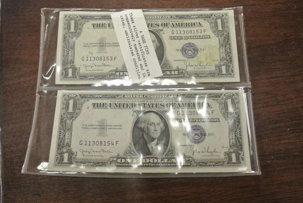 Lot Of 2 1935 Silver Certificates Consecutively Numbe
