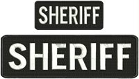 Sheriff embroidery patches 3x10 and 2x5 hook on back white