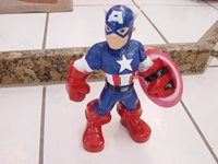 """CAPTAIN AMERICA TOY ELECTRONIC 12 SAYINGS 10.5"""" POSEABLE PLASTIC MATTEL 2011"""