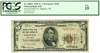 Fr 1800-1 $5 1929 Ty. $5 Ch. #1918 National Bank Note Saginaw, Mi / PCGS 15 Fine