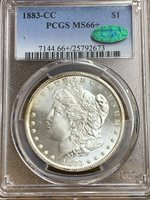 1883 CC $1.00 MORGAN SILVER DOLLAR PCGS MS-66+ CAC