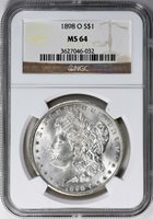 1898-O MORGAN SILVER DOLLAR - NGC MS 64 - ATTRACTIVE COIN, GREAT LUSTER & VALUE