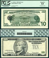 US Currency 1999 $10 Federal Reserve Error Note
