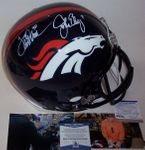 John Elway / Terrell Davis - Autographed Full Size Riddell Football Helmet - Denver Broncos - PSA/SNA / BAS Beckett Authentication